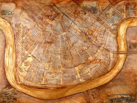 Map of New Orleans, illuminated by local artist Carol Peebles